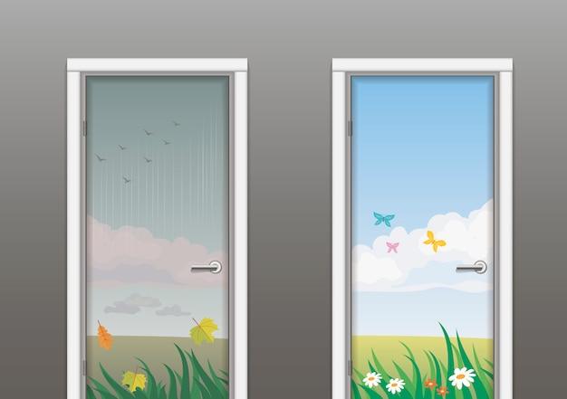 As portas no verão e no outono