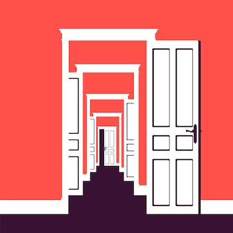 As portas se abrem em muitos quartos. metáfora de negócios, oportunidade de vida, novos caminhos para o sucesso, chance e possibilidade de obter desenvolvimento, caminho para atingir a meta ou sonho.