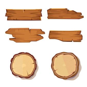As pranchas de madeira velhas e a serra cortaram o tronco de árvore isolado no branco. textura de tábua de madeira, toco áspero i