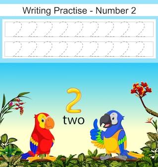 As práticas de escrita número 2 com dois belos papagaios sob ele