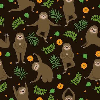 As preguiças fazem ioga. padrão uniforme.