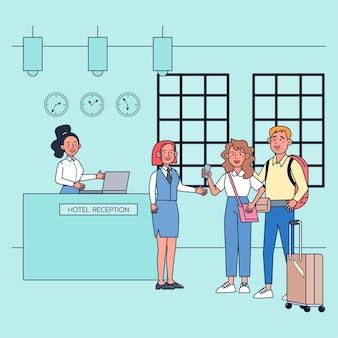 As promoções na temporada de viagens de verão estimulam a economia do turismo, como hotéis e pousadas. ilustração plana