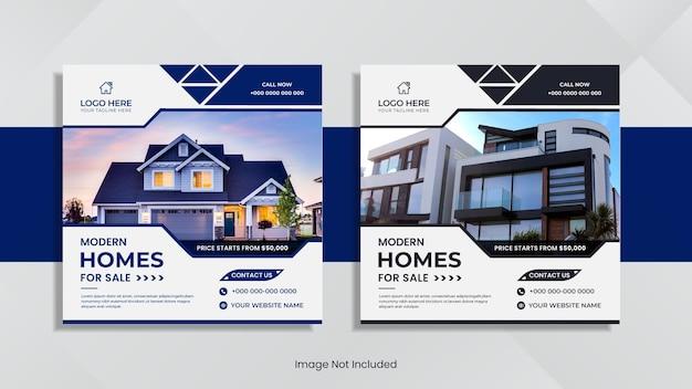 As redes sociais imobiliárias publicam um design minimalista com formas e cores mínimas.