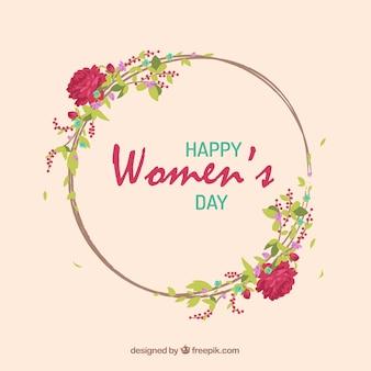 As rosas desenhadas mão grinalda dia das mulheres