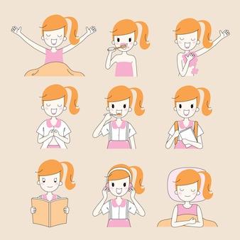 As rotinas diárias da menina, esboço,, várias atividades, aprendizagem, relaxamento