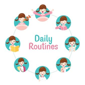 As rotinas diárias da menina no gráfico circular, várias atividades, aprendizagem, relaxamento