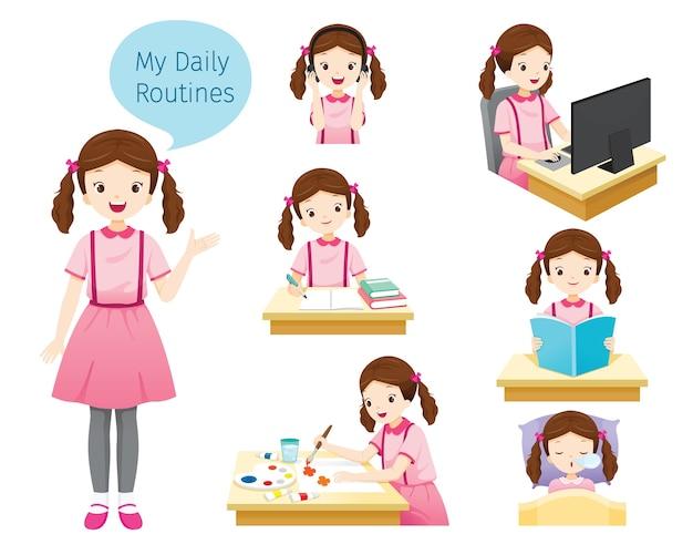 As rotinas diárias da menina, várias atividades, aprendizagem, relaxamento