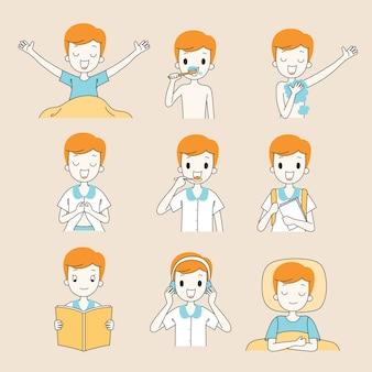 As rotinas diárias do menino, esboço, várias atividades, aprendizagem, relaxamento