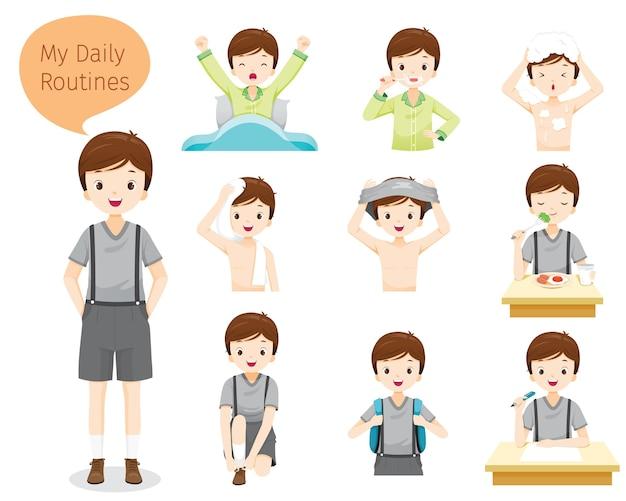 As rotinas diárias do menino, várias atividades, aprendizagem, relaxamento