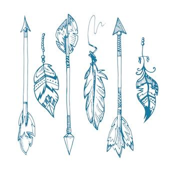As setas da pena dos indianos americanos ajustaram-se, decoração tribal velha do moderno das penas. hipster vintage
