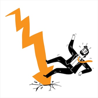 As setas do gráfico de ações caem sobre os executivos, ilustração vetorial desenhada à mão