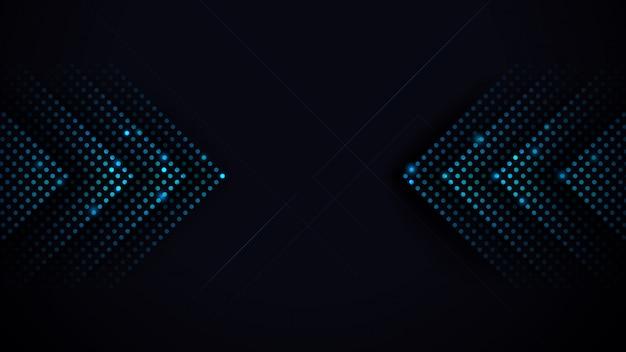 As setas iluminam-se - velocidade futurista abstrata azul no fundo preto.