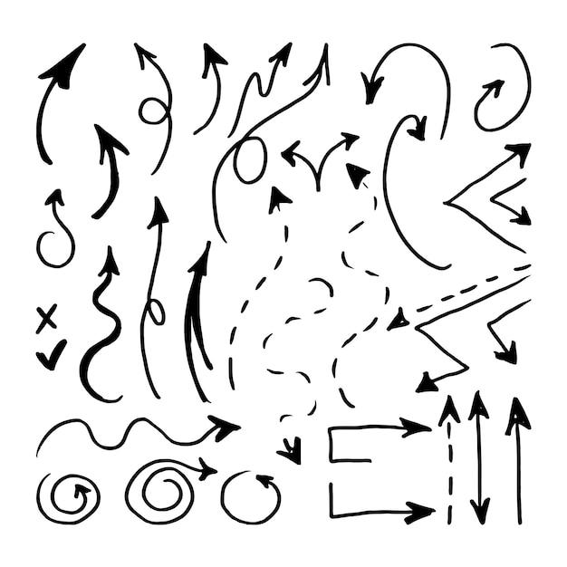 As setas são desenhadas à mão em um fundo branco. marcador de esboço. ilustração vetorial