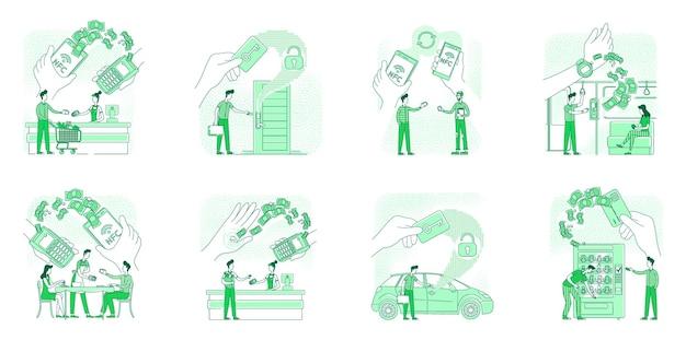 As tecnologias nfc beneficiam a ilustração do conceito de linha fina isolada