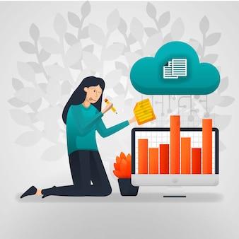 As trabalhadoras mudam os dados do gráfico de vendas do armazenamento em nuvem.