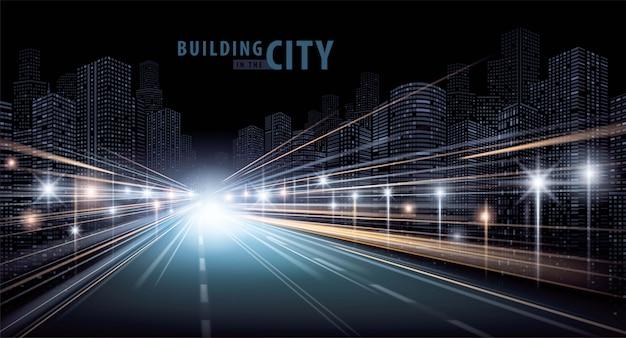 As trilhas leves na estrada e moderno edifício vector
