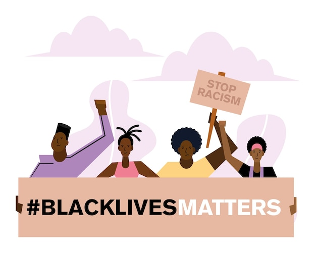 As vidas negras importam para o racismo, banners, pessoas e nuvens, design do tema protesto.
