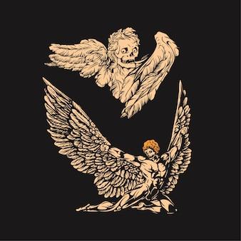 Asa de anjo e ilustração de caveira