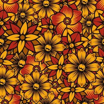 Asain padrão floral colorido sem costura com flores