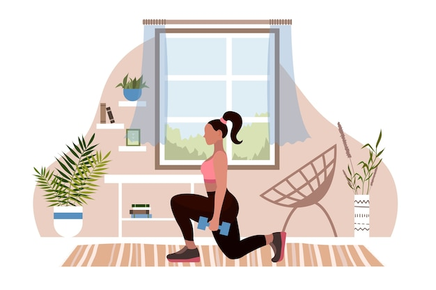 Asana de ioga de mulher e parada de mãos. praticar esportes em casa. menina envolvida em fitness estilo simples