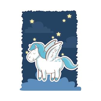 Asas bonitas do unicórnio sobre o poster da noite da noite da nuvem