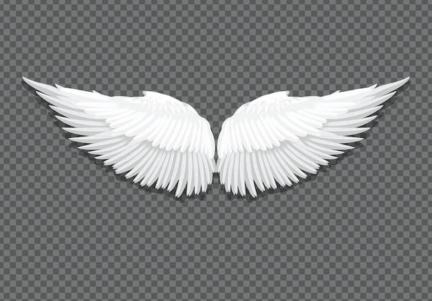 Asas de anjo brancas elegantes realistas de vetor