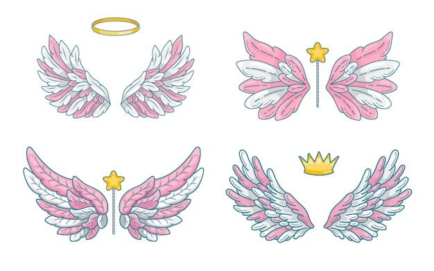 Asas de anjo com acessórios mágicos - varinha, coroa e auréola.