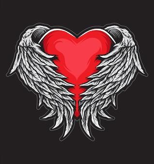 Asas de anjo de coração