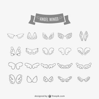 Asas de anjo doodles set