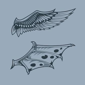 Asas de anjo e dragão