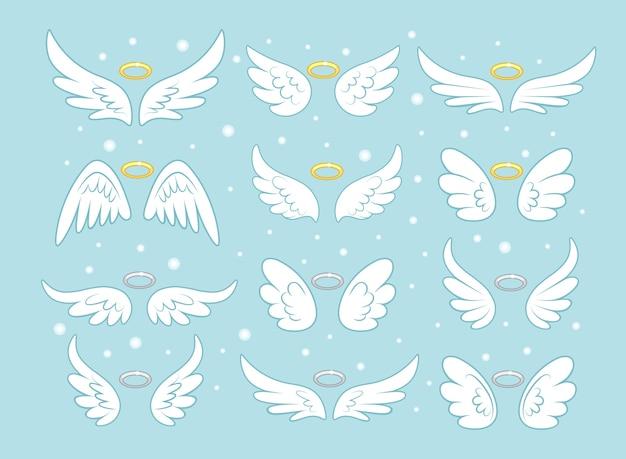 Asas de fada de anjo cintilante com nimbo dourado