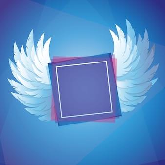 Asas de vetor com moldura quadrada - conceito de liberdade no fundo de cor azul