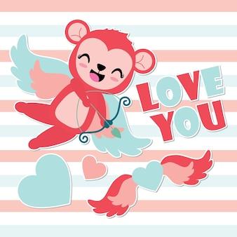 Asas do coração do tiro com arco do macaco cupido bonito