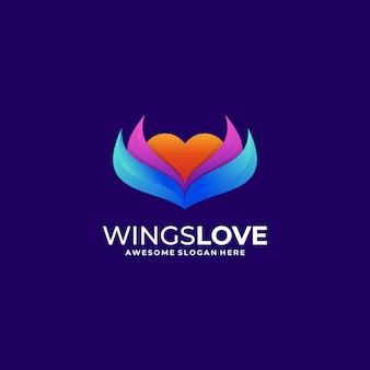 Asas do logotipo amam o estilo gradiente.