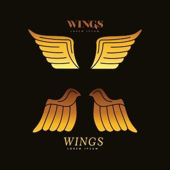 Asas douradas penas pássaros estilo silhueta ícones ilustração design