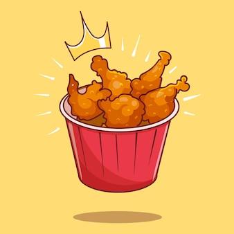 Asas e pernas de frango reais em um balde cartoon vector icon ilustração