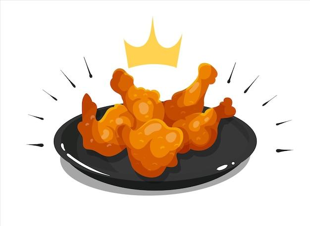 Asas e pernas de frango reais em uma ilustração de ícone de vetor de desenho animado