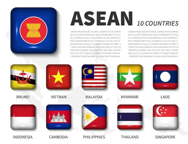 Asean e associação. bandeira de botão quadrado brilhante ângulo redondo