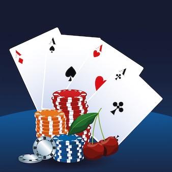 Ases cardam microplaquetas e casino do jogo do jogo de apostas da cereja