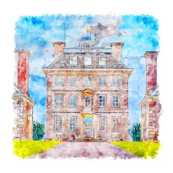 Ashdown house oxfordshire esboço em aquarela desenhado à mão