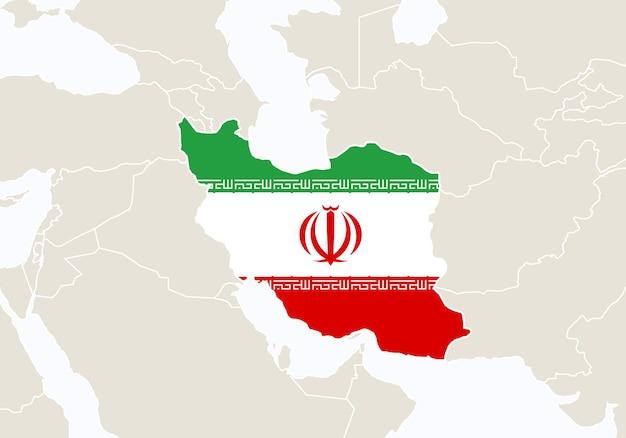 Ásia com o mapa do irã em destaque. ilustração vetorial.