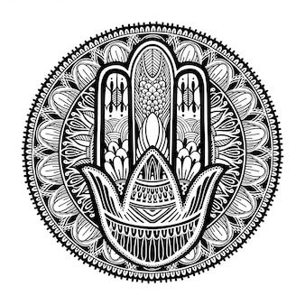 Ásia da religião da talismã de hamsa.