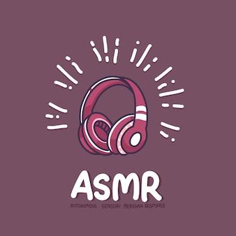 Asmr e ilustração de desenho de fone de ouvido