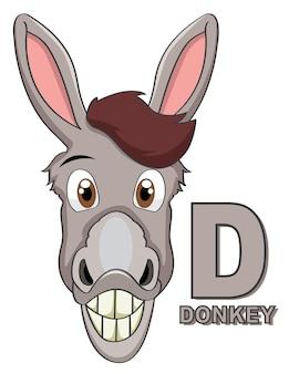 Asno. letra d. alfabeto animal de crianças fofas em vetor. animais de desenho animado. ilustração vetorial