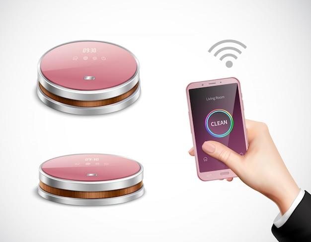 Aspirador de pó controlado por smartphone robótico closeup vista lateral superior imagens realistas com a mão segurando a ilustração do telefone