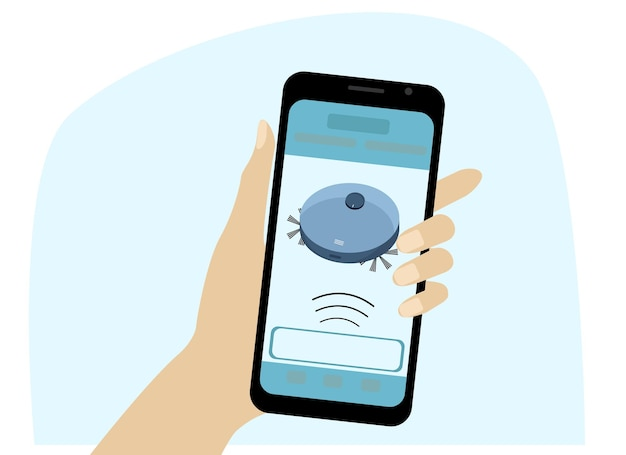 Aspirador de pó do robô. controle de casa inteligente de um telefone celular. desenho vetorial