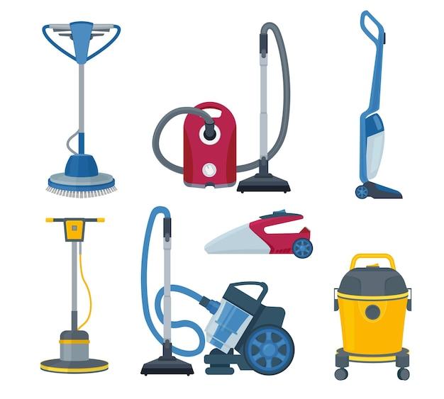 Aspirador de pó. modernos aparelhos elétricos automáticos para o conjunto de desenhos animados de serviço de limpeza.