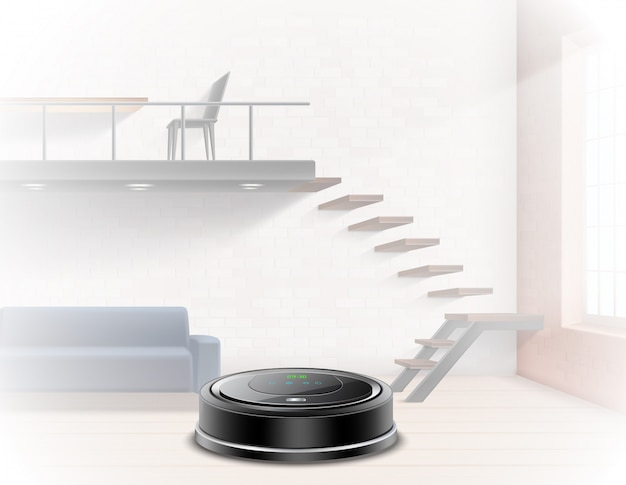 Aspirador de pó robótico preto em um apartamento