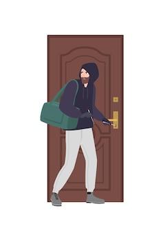 Assaltante vestindo moletom com capuz tentando destrancar a porta com fechadura e quebrar em casa. roubo, arrombamento ou invasão de domicílio. ladrão, assaltante, criminoso ou fora da lei. ilustração em vetor colorido plana dos desenhos animados.