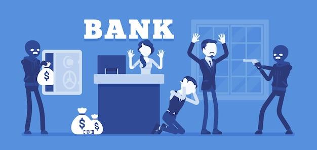Assalto a banco criminosos mascarados